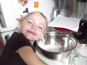 My little girl. She LOVES to bake.