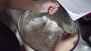 Use a pastry cutter to cut in the shortening until it resembles peas. Tip #2 - I use knives as I do not have a pastry cutter...and although it  may take longer, it still gets the job done!