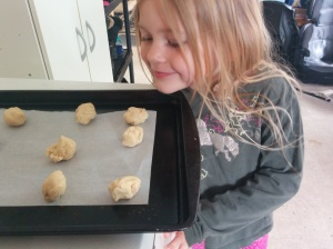 "Ready for the oven. ""These smell good!"""