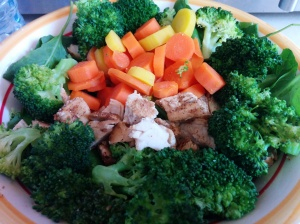 Broccoli, Spinach/Kale mix, carrots, and chicken. This was a HUGE serving!
